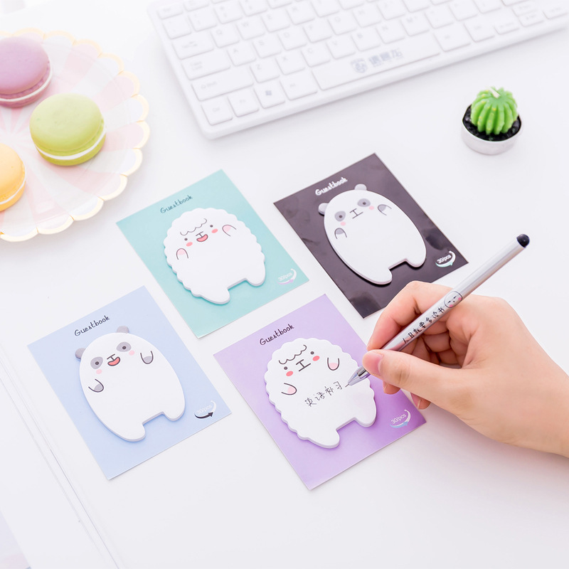 2pcs Creative Cartoon Lamb Bear Shaped Posted It Sticky  Notes Planner Stickers Notes Kawaii Stickers Post Memo Pads 30 Sheets