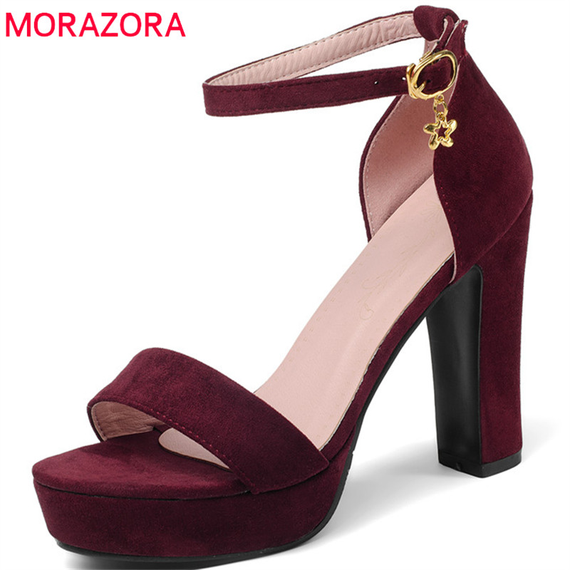 MORAZORA 2018 new arrive women sandals top quality flock simple buckle fashion casual shoes comfortable summer high heels shoes memunia 2018 new arrive women summer sandals sweet bowknot casual shoes simple buckle comfortable square heele shoes woman