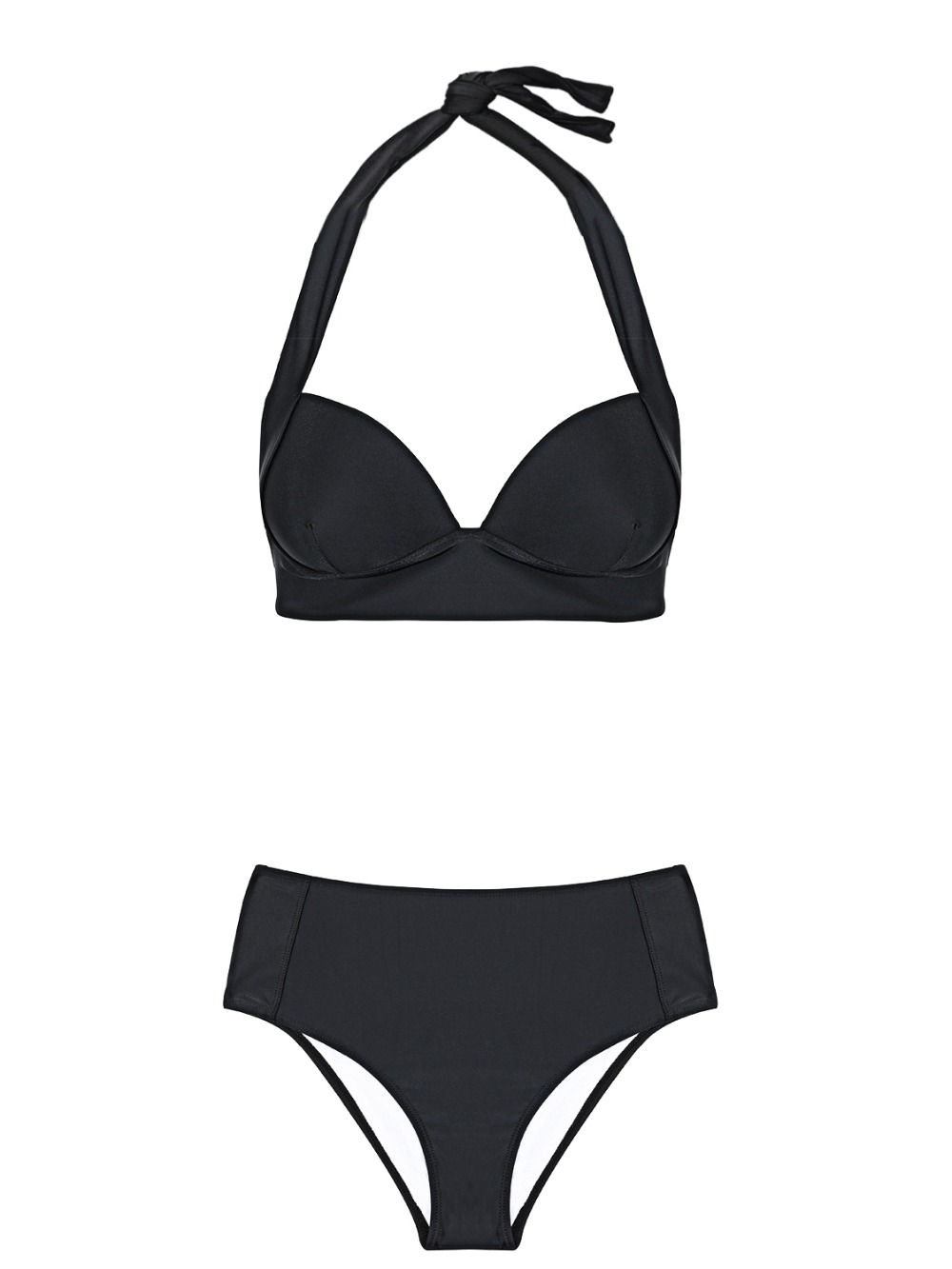 HTB1T9Kcdf9TBuNjy0Fcq6zeiFXac - Halter high waist bikini women 2018 Push up plunge swimsuit solid sexy vintage swimwear female Sport bathing suit red bikini set