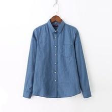 Dioufond 2018 Blue Denim Shirts Women Long Sleeve Blouses Fashion Jeans Shirts Cotton Female Tops Autumn Clothes Plus Size 5XL