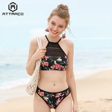 цена на Attraco 2019 Women Bikini Set Vintage Floral Print Mesh Swimwear Swimsuit Bathing Suit Beachwear Sexy Bikini