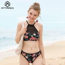 Attraco Women Bikini Set Vintage Floral Print Mesh Swimwear Swimsuit Bathing Suit Beachwear Sexy Bikini цена 2017