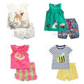 New 2017 Quality 100% Cotton Summer Baby Girls Clothing Set 2pcs Children Suit Kids Clothes Short Sleeve Baby Girls Clothes Sets