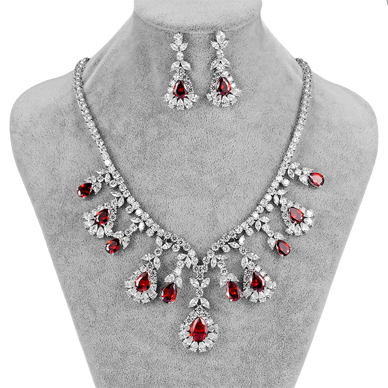 Assorted Colors Luxury Cubic Zirconia Zircon CZ Large Teardrop Necklace and Earrings Bridal Wedding Jewelry Set for WomenAssorted Colors Luxury Cubic Zirconia Zircon CZ Large Teardrop Necklace and Earrings Bridal Wedding Jewelry Set for Women