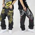 Горячая Продажа Хлопок 100% большой размер жир хип-хоп джинсы свободные хип-хоп брюки мужчины не связанные с основной Бесплатная Доставка