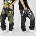 Venda quente 100% Algodão tamanho grande fat hop jeans hop solta calças masculinas não-mainstream Frete Grátis