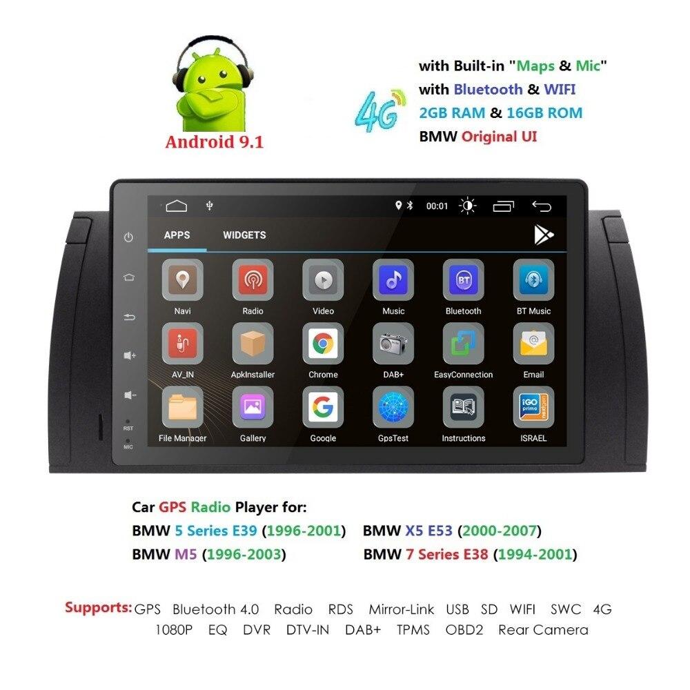 9 pouces 1024x600 HD écran tactile 1 din Android 9.1 voiture multimédia Radio stéréo pour BMW E39 E53 X5 Wifi 4G Bluetooth DVR RDS USB - 2