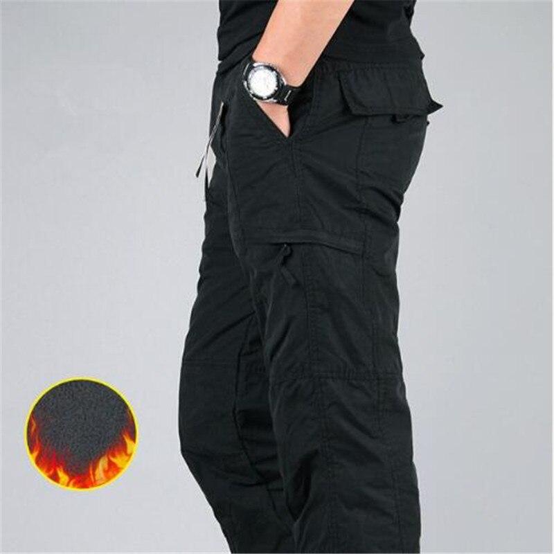 Men's Cargo Pants 2019 Winter Casual Warm Thicken Fleece Pants Men Cotton Multi Pockets Combat Military Baggy Tactical Pants 35