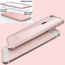 Cool Top Quality Hard Back Clear Case For Iphone 6 6S 4.7 / Iphone 6 6S Plus 5.5 Gold Metal Edge + Transparent Acrylic PC Cover