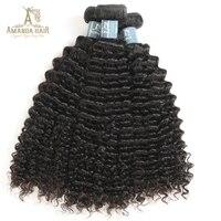 Amanda Mongolian Kinky Curly virgin Hair Weave Bundles 100g/Bundle Mix Length 100% Human Hair Extension For Salon Hair