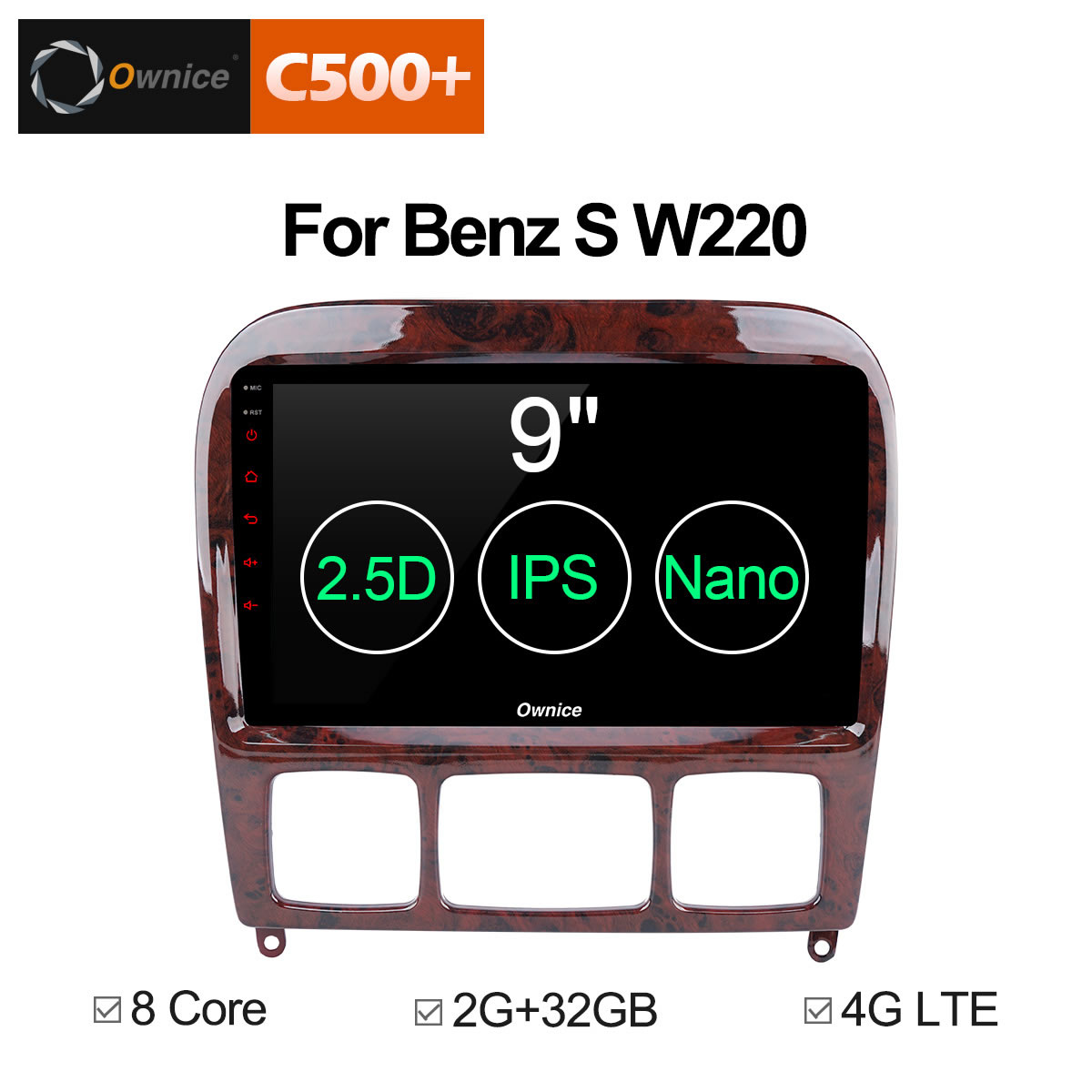 Ownice C500 + G10 2 Din Andorid 8.1 Lettore DVD Dell'automobile per Mercedes/Benz/W220/W215/ s280/S320/S350/S400/S500/CL600 Classe S GPS Radio
