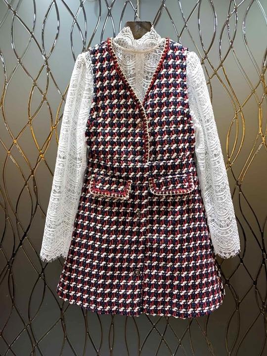 Femmes Gilet L'hiver Creux Costume Américain Soluble Solide Européen Multi Top Jupe Dans 2018 Et Automne Couleur L'eau Couture Colliers 105 De Ybyg76fv