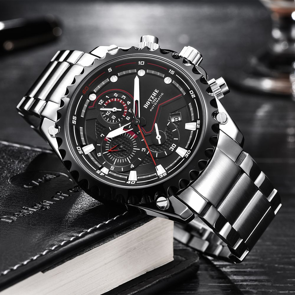 Fashion Luxury Brand Mechanical Watch Men Stainless Steel Automatic Business Watch Men Clock relogio masculino relojes hombre relojes full stainless steel men s sprot watch black and white face vx42 movement