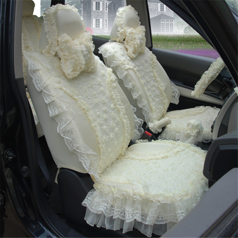 Beige Women Cute Lace Girl Car Seat Cover Cushion New Gift Including 5 Seats And 9pcs Accessories Styling HB05 In Automobiles Covers From
