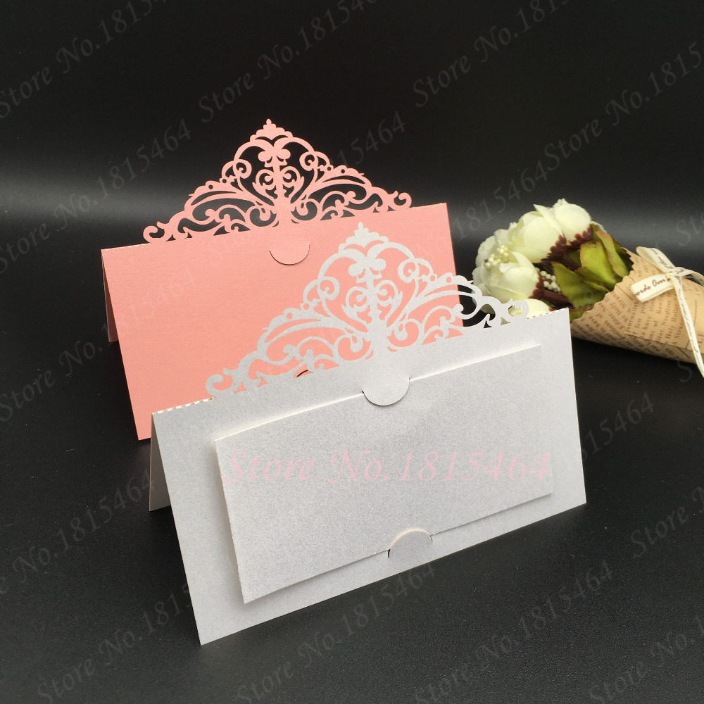 Us 10 91 16 Off 50pcs Laser Cut Lace Crown Place Name Seat Card Wedding Invitation Card Birthday Party Invitation Table Decoration In Cards
