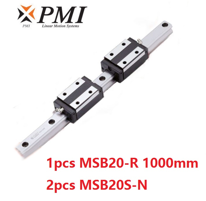 1pcs Taiwan PMI MSB20-R 1000mm linear guide rail and 2pcs MSB20S-N Block Carriages for CO2 laser machine CNC router MSB20SSSFCN