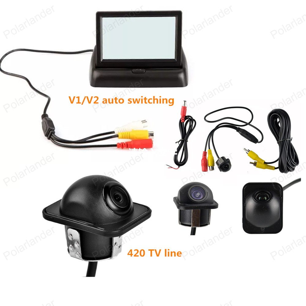 In-dash DC 12V <font><b>4.3</b></font> <font><b>Inch</b></font> Foldable TFT screen Color Display Screen Rear View <font><b>Monitor</b></font> + Night Vision CCD parking camera image