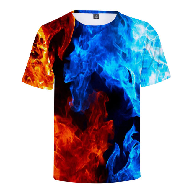 frdun tommy 3d print t shirt blue flames and red flames cool print
