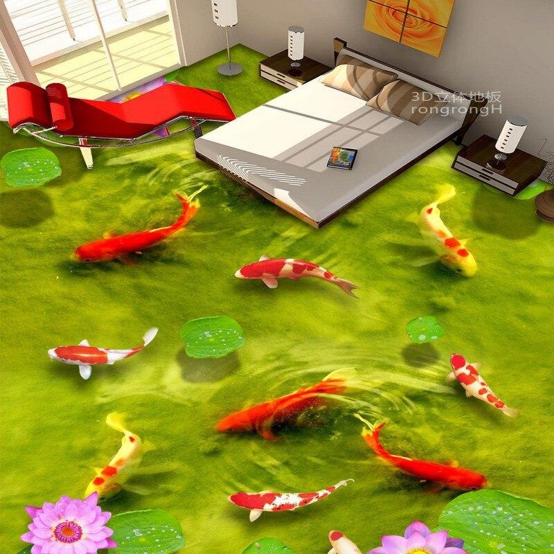 ФОТО Free Shipping Chinese wind carp pond floor 3D TV backdrop non-slip self-adhesive bedroom living room bathroom flooring mural