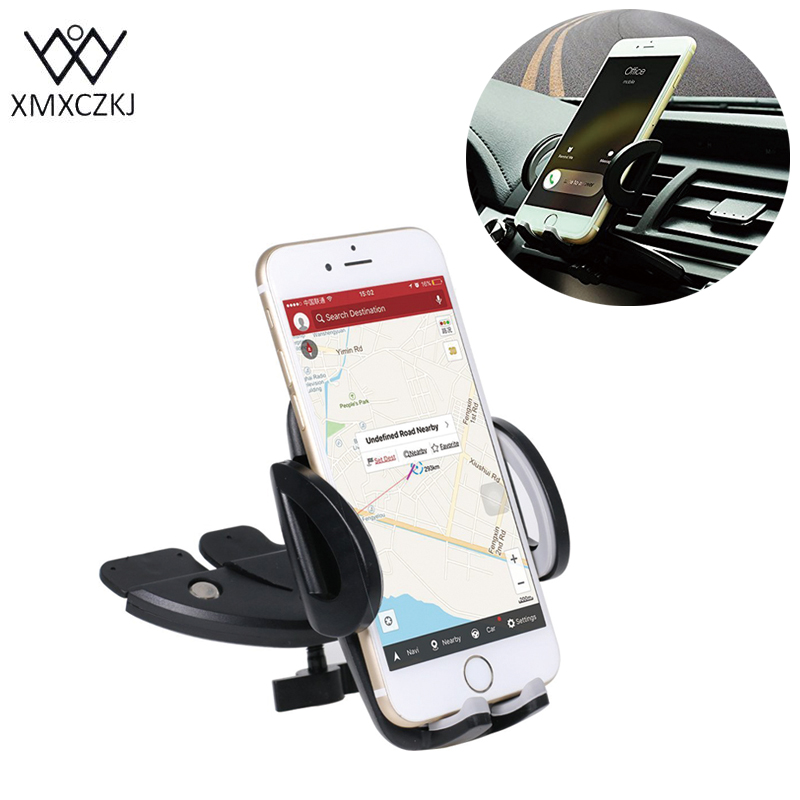 XMXCZKJ Universal 360 Ajustable Car Air Vent Mount CD Slot Car Cell Mount Holder Smartphone Teléfono móvil GPS para Iphone Samsung