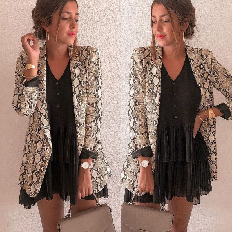 New Women Blazers Long Sleeve Blazer Feminino Snake Skin Print Outerwear Office Lady Work Wear Fall Womens Tops and Blouses