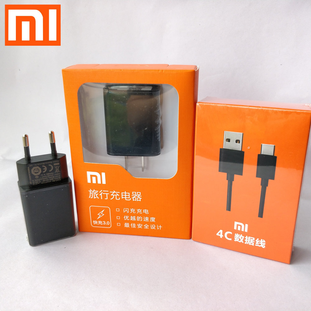 Xiaomi mi 5 QC3.0 Charger Original , Quick Fast EU/US usb wall Charge Adapter & Genuine Type-C cable for mi 5s 4c 4s mix 2 max 2