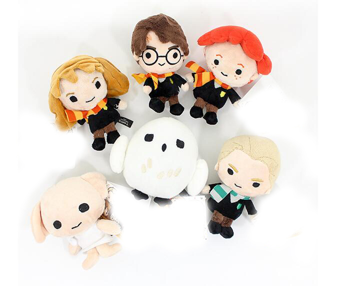 10-15cm Kawaii Style Hermione Ron Malfoy Dobby Hedwig Movie Puppet Plush Chain Toys For Children