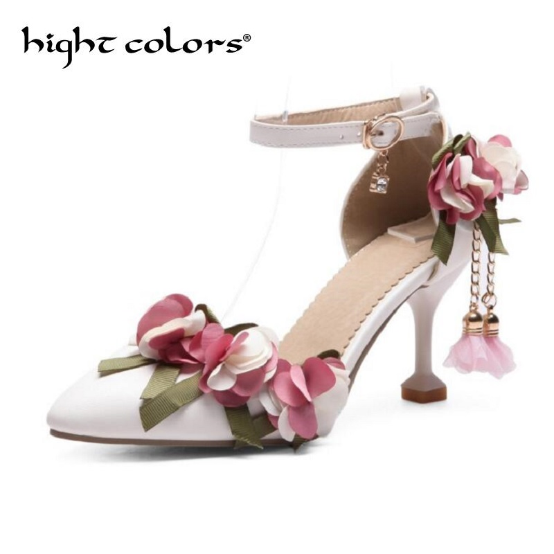 2018 Flower High Heels Pointed Toe PU Leather Shoes Women For Summer Party Wedding Shoes Size 34-43 White Pink Women Pumps new spring summer women pumps fashion pointed toe high heels shoes woman party wedding ladies shoes leopard pu leather