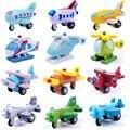 12 unids/lote bebé minicar madera mini avión modelos toys kit niños niñas vehículos multicolor juguete para niños educación lf030