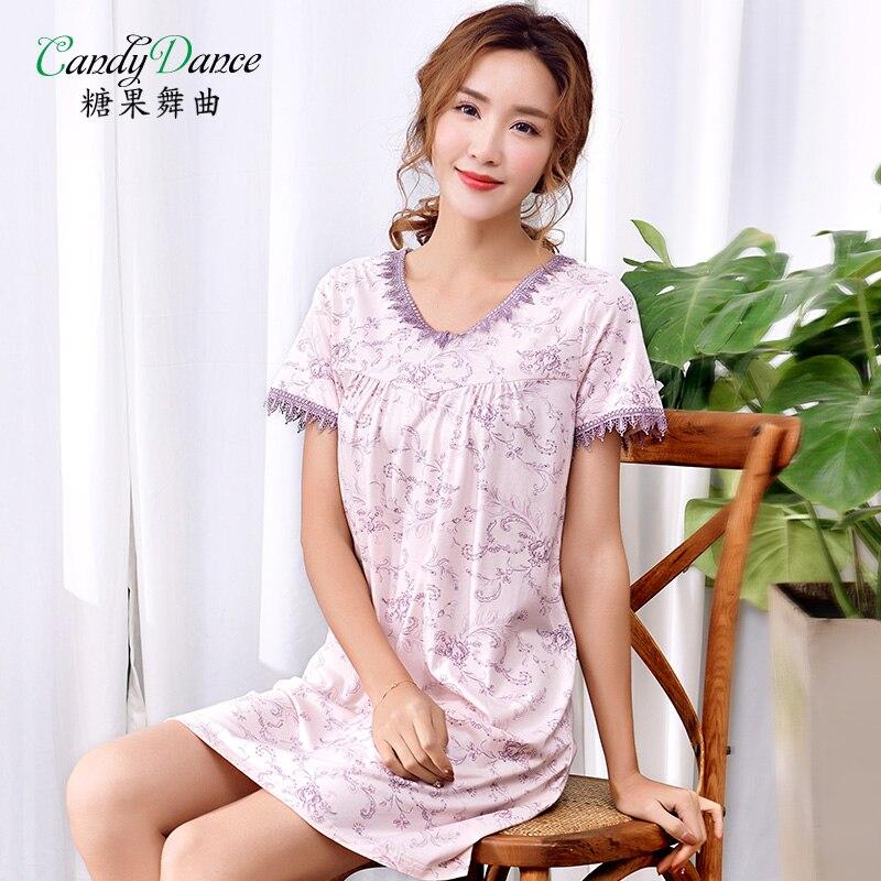 Womens sleepdress summer 100% modal cotton soft short sleeve knee-length nightgowns thin plus size lace sleep dress at home