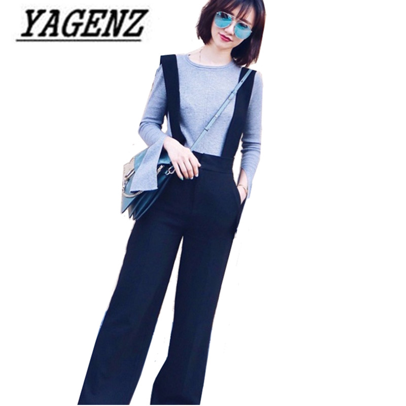 2018 Fashion New Spring/Summer Women's Black   Wide     Leg     Pants   Loose Removable Strap Chiffon Straight   Pants   Female Casual Trousers