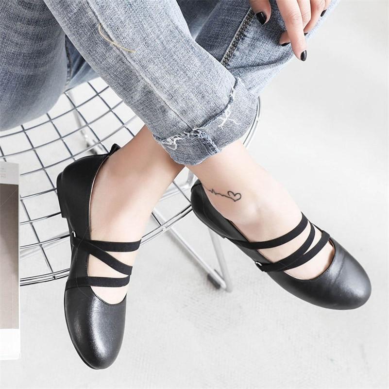 Bout rouge Beige Chaussures Mode noir Boucles Casual Mignon Conasco En De Femmes Femme Cuir Base Rond 20189 Vache Appartements Ballet QedxWrCBo
