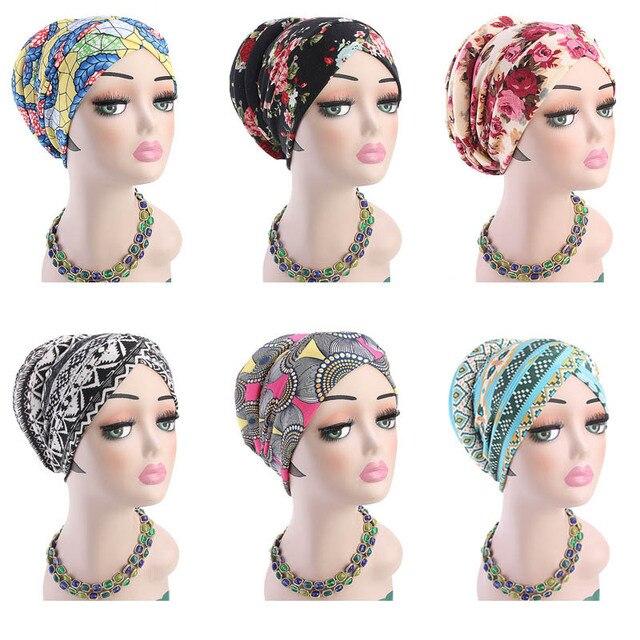 Müslüman kadınlar baskı pamuk sünger çapraz türban şapka kanser kemoterapi kemo kasketleri Caps Headwrap saç dökülmesi kapak aksesuarları