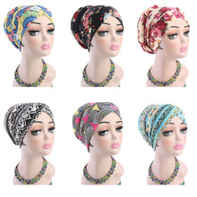 Muslim Women Print Cotton Sponge Cross Turban Hat Cancer Chemotherapy Chemo Beanies Caps Headwrap Hair Loss Cover Accessories