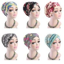 Turban en coton imprimé pour femmes musulmanes, chapeau croisé avec éponge, chimiothérapie pour le Cancer, couvre tête, protection contre la perte de cheveux, accessoires