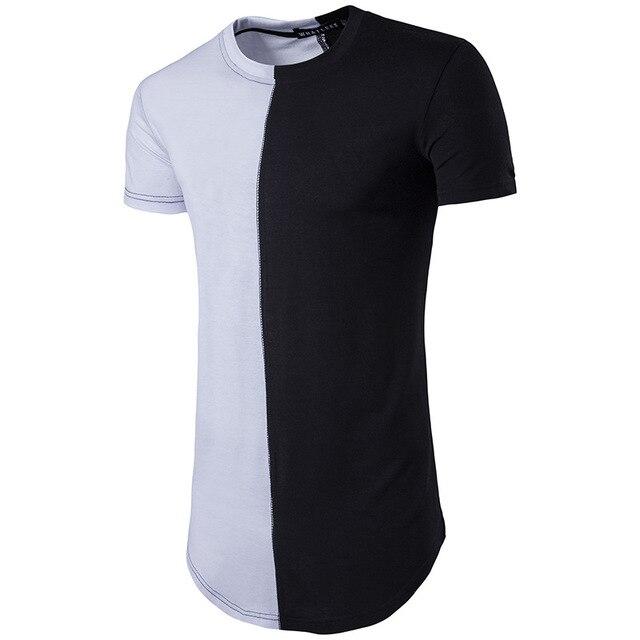bc4c8ba6035 Half black white New Designer 2017 Men Summer Dress Tee Tshirt Hip Hop  Street Fashion T shirt Casual cotton Short Sleeve T-shirt