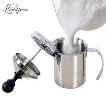 LMETJMA – mousseur à lait en acier inoxydable, 400ML, pour café et lait, Cappuccino, manuel
