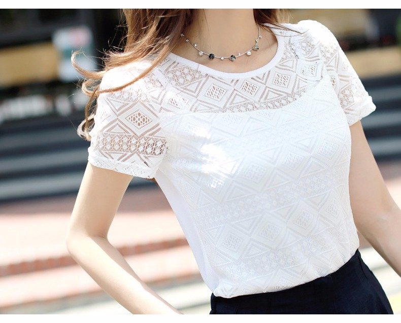 2017 Women Clothing Chiffon Blouse Lace Crochet Female Korean Shirts Ladies Blusas Tops Shirt White Blouses slim fit Tops 4