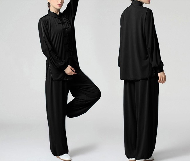 New Arrival Chinese Kung Fu Tai Chi Suit Elastic Knitted Fabrics Uniforms Womens Morning Exercise Set