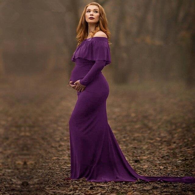 348205bb267 SexeMara 2017 Maternity Dresses Maternity Photography Props Plus Size Dress  Elegant Fancy Pregnancy Photo Shoot Women
