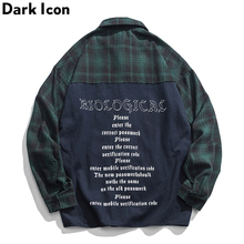 Dark Icon Letters Printing Patchwork Plaid Jackets Men 2019 Autumn Street Hip Hop Jacket Flannel Checkered Men's