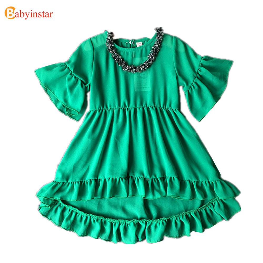 Kids Infant Girls Dress Flare Sleeve Green Solid Children Chiffon Dress Toddler Clothing Hot Sale 2017 Formal Party Costume