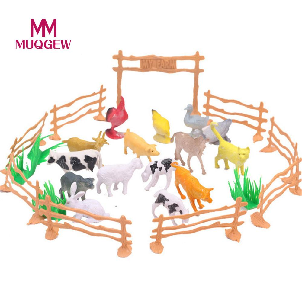 MUQGEW Brand 15Pcs Farm Animals Toys Animal cow dog sheep goose Family Farm Poultry Feed Fence Simulation Model toy for Children 6pcs simulated farm animal horse sheep