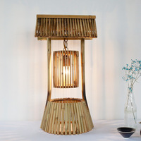 Retro American country rustic simple Japanese bamboo lamp cafe restaurant bedroom bar table decoration old table lamp light