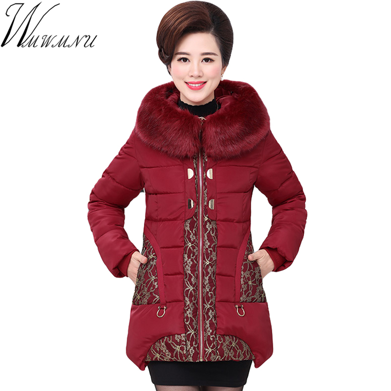 Wmwmnu Direct Selling Promotion 2017 Winter Jacket Women Thicken Warm Cotton-padded Plus Size Fur Collar Slim Coat Parka Ss357f 2017 middle aged winter jacket women thicken warm cotton padded slim plus size 6xl winter coat women parka high quality