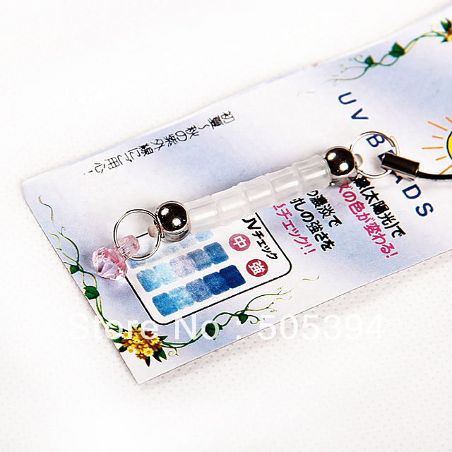 free shipping cellphone chain charm Mobile Strap Detection UV Crystal Change Color#8504