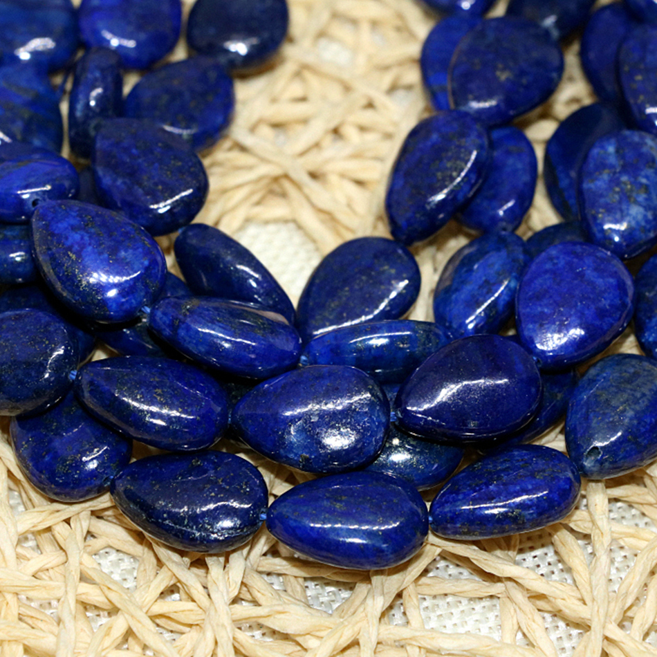 "Natural 13x18mm Egyptian Blue Lapis Lazuli Gemstone Oval loose Beads 15/"""