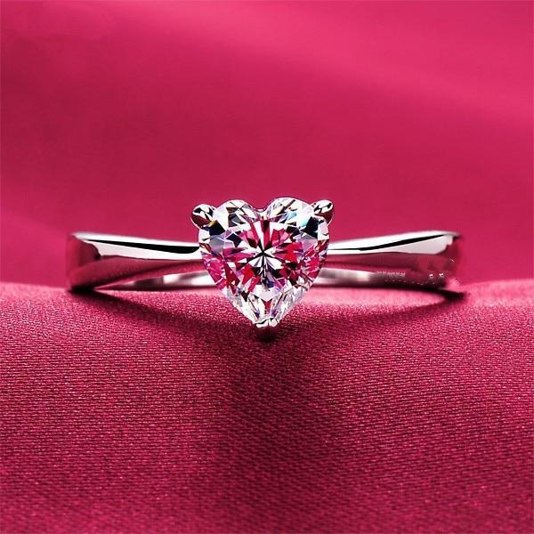 THREEMAN Royal Design 1 Carat Heart Shape Lovely Style Synthetic