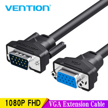 Vention VGA Extension Cable 1m 1.5m 2m 3m High Quality Male to Female Cable Extender VGA Cable for Computer Projector Monitor high quality 1 male vga to 2 female vga splitter cable 2 way vga svga monitor dual video graphic lcd y splitter cable