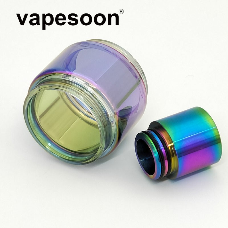 VapeSoon Replacment Rainbow Glass Tube With 810 SS Drip Tip For TFV12 Prince 8ML Atomizer TANK MAG 225W KIT